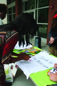 Students make their own T-shirts to display around campus.