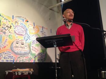 Former Mayor Otis Johnson speaks at Albion's Voice reunion. (Photo credit: Elizabeth Rhaney)