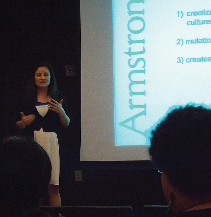 Dr. Jennifer Wyse presents at Armstrong's Afro-Latino Lecture. Photo credit: Elizabeth Rhaney