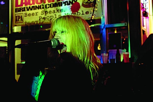 Cobalt Cranes - Kate Betuel singing on stage