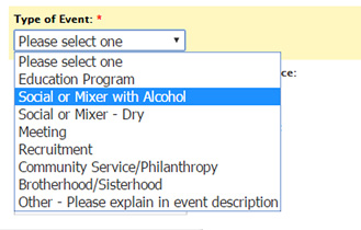 drop down menu for Greek event registration April 26, 2016