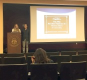 "Michelle Kanke (left) and Luke Lyman-Barner (right) during their presentation ""Kubric, Porn, and the Importance of Literary Analysis in Education"" at the student Scholar Symposium - Thursday, April 21, 2016"