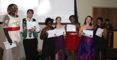 web students receiving awards at the GSA Prom in the student union Wednesday April 6, 2016