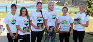 The Armstrong women's tennis team celebrates their 13th straight Peach Belt championship. They swept the No.8 Columbus State Cougars in the championship final - Sunday, April 24. (Armstrong Communications)