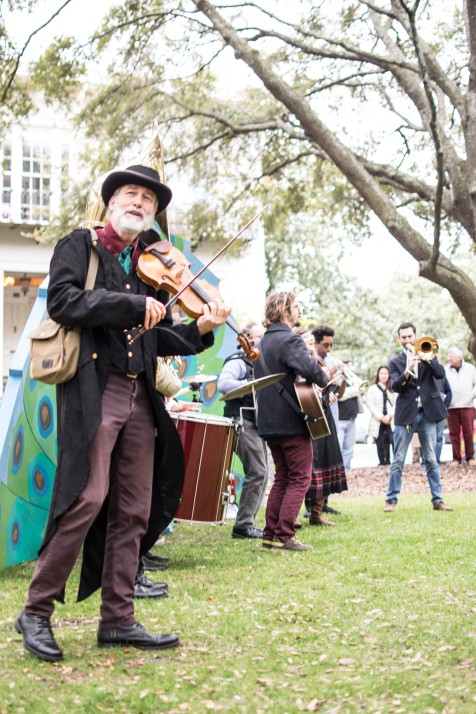 The Sweet Thunder Strolling Band playing in Lafayette Square. Photo by Laura Weyman.
